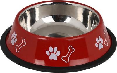 TommyChew Basic Charm Round Steel Pet Bowl(100 ml Red)