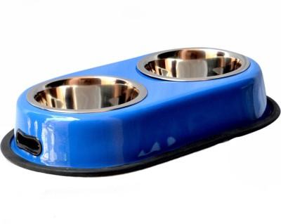 PETHUB Double Dinner Set Medium BLUE Round Stainless Steel Pet Bowl