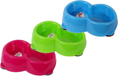 Petbrands Round Plastic Pet Bowl(1500 ml Red, Green, Blue)