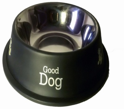 Pets Planet Round Stainless Steel Pet Bowl(450 ml Black)