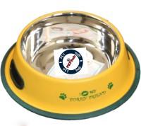 Pethub Medium food bowl Round Stainless Steel Pet Bowl(920 ml Yellow)