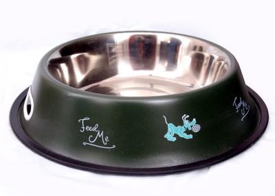Pet Club51 Green Dog Food Bowl Medium Round Stainless Steel Pet Bowl(900 ml Green)