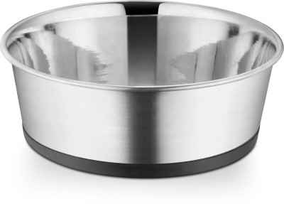 HM STEELS Round Stainless Steel Pet Bowl(500 ml Grey)