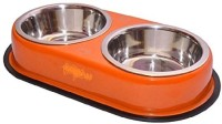 Pet Club51 Round Stainless Steel Pet Bowl(450 ml Orange)