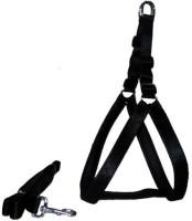 Petshop7 Nylon Black 1 Inch Medium (Chest Size : 24.5-28.5 inch) Padded Dog Harness & Leash(Medium, Black)