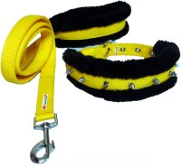 Petshop7 Nylon Yellow Spiked fur 1 Inch Medium Dog Collar & Leash(Medium, Yellow and Black)