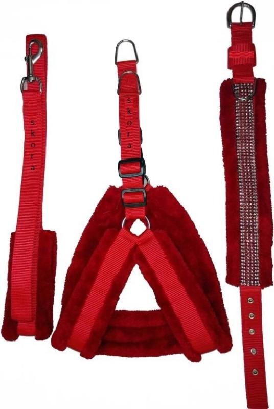 Skora SKORA FANCY Nylon Red 1.25 inch Fur harness, Collar...
