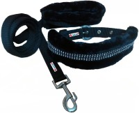 Petshop7 Black 1 Inch Nylon Fur Medium Dog Collar & Leash(Medium, Black)