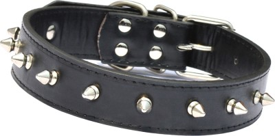 XPO Black Spiked Leather Dog Everyday Collar