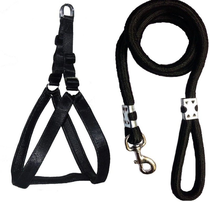 Petshop7 Black Large 1.25 inch Padded Dog Harness & Rope...