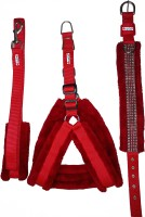 Petshop7 Nylon Red 1 inch Fur harness, Collar & Leash (Chest Size : 26-30 inch) Medium Dog Harness & Leash(Medium, Red)