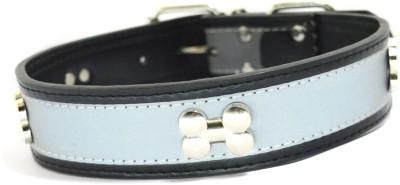XPO Black Bone Stud & Reflective Leather Dog Everyday Collar