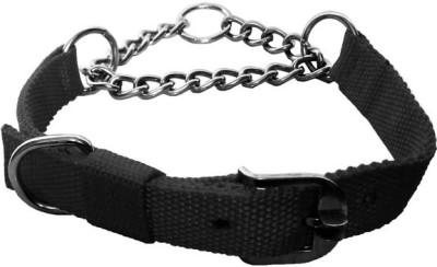 Petshop7 Black Nylon 1 Inch Dog Choke Chain Collar(Medium, Black)