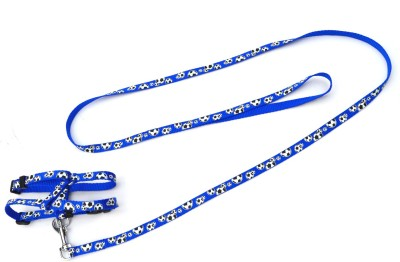 XPO Blue Printed Small Breed Dog Harness & Leash