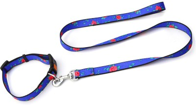 XPO Expensive Blue Floral Look Dog Collar & Leash
