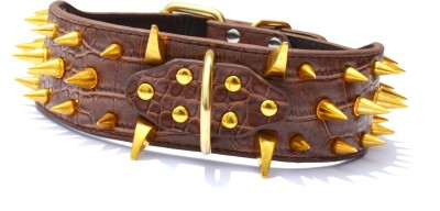 XPO Brown Luxury Spiked Leather Dog Everyday Collar