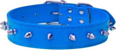 XPO Blue Spiked Leather Dog Everyday Collar
