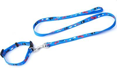 XPO Fantastic Blue Printed Dog Collar & Leash