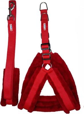 Petshop7 Nylon Red fur 1.25 Inch Large Dog Dog Harness & Leash
