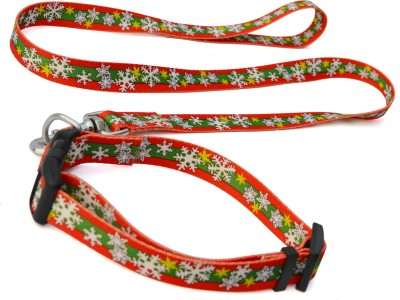 XPO Red & Green Flower Design Dog Collar & Leash