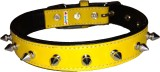 Petshop7 Leather 1 Inch Spiked Yellow Me...