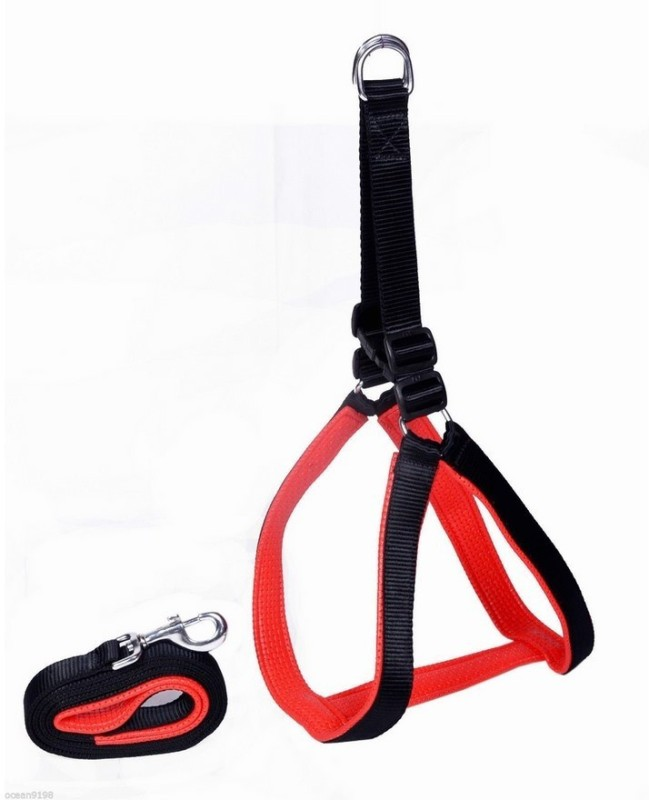 Pets Planet Dog Standard Harness(Medium, Black & Red)
