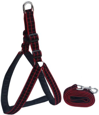 Petsplanet Petsplanet High Quality Dog Harness With Soft Padding -1.25 Inch -Black & RED LARG Dog Standard Harness