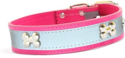 XPO Pink Bone Stud & Reflective Leather Dog Everyday Collar