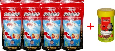 Taiyo Drago 4x100gm Pouch + 10gm Tubifex Worms Fish Fish Food