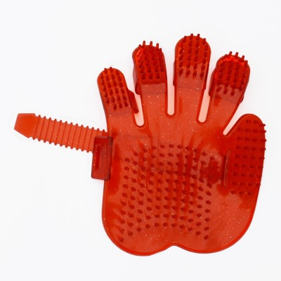 XPO Red Hand Shaped Grooming Gloves for Dog