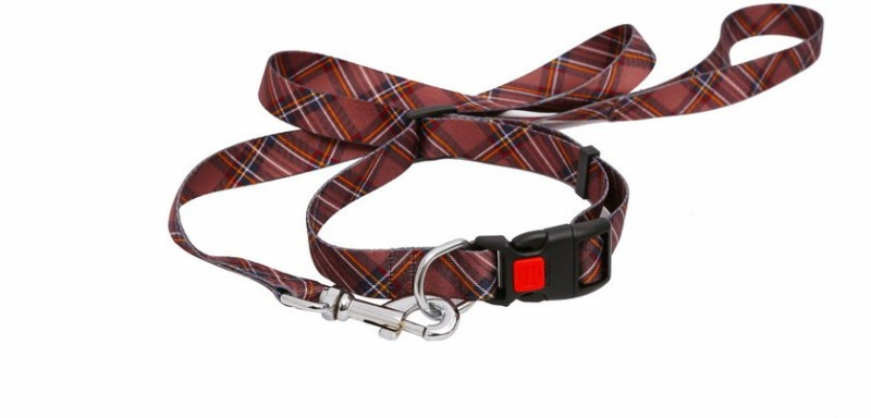 Pet Bliss Check Printed Adjustable Lock Collar 124 cm Dog & Cat Cord Leash(Brown)