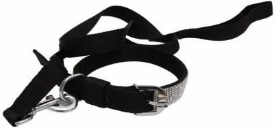 Pet Bliss Diamond Collar 119 cm Dog & Cat Cord Leash(Black)