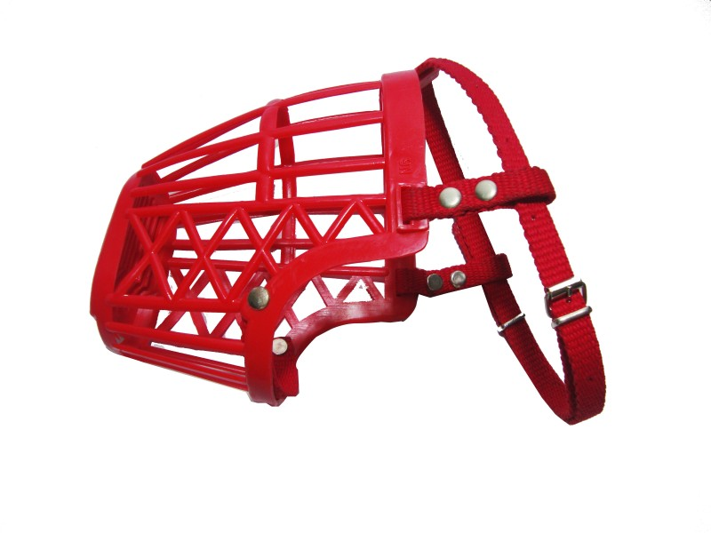 Agnpetspot. Large Strips Dog Muzzle(Red)