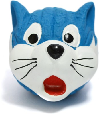 XPO Blue Cat Face Rubber Squeaky Toy For Dog & Cat