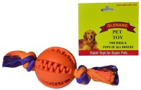 Glenand Rubber Dental Chew with Rope 2.375 GI008 Ball For Dog