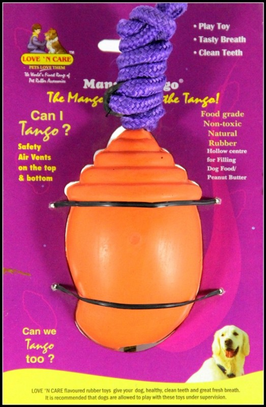 Love 'n' Care Mango Tango with Rope - Big Rubber Treat Dispensing Toy For Dog