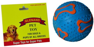 Glenand Rubber Bone - Print Squeaky 3.75 GI018 Ball For Dog
