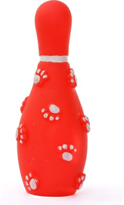 XPO Red Bowling Rubber Squeaky Toy For Dog