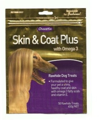 Choostix Skin & Coat Plus With Omega 3 Chicken Dog Treat