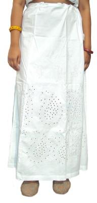 New Life Enterprise Hath0345_M-Embroidered White Cotton Petticoat