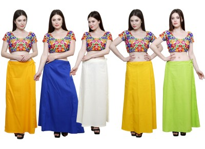 Pistaa Mango Yellow, Ink Blue, Cream, Yellow and Parrot Green Cotton Petticoat