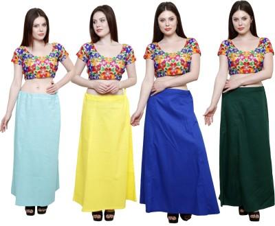 Pistaa Sky Blue, Lemon Yellow, Ink Blue and Dark Green Cotton Petticoat