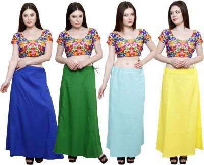 Pistaa Ink Blue, Pak Green, Sky Blue and Lemon Yellow Cotton Petticoat