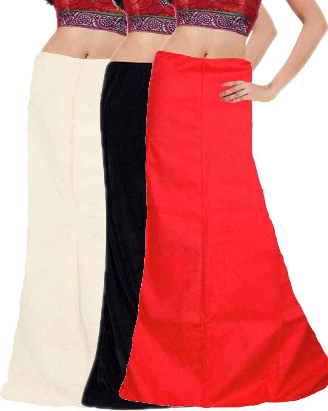 Javuli ja1-in-black-white-red Cotton Petticoat