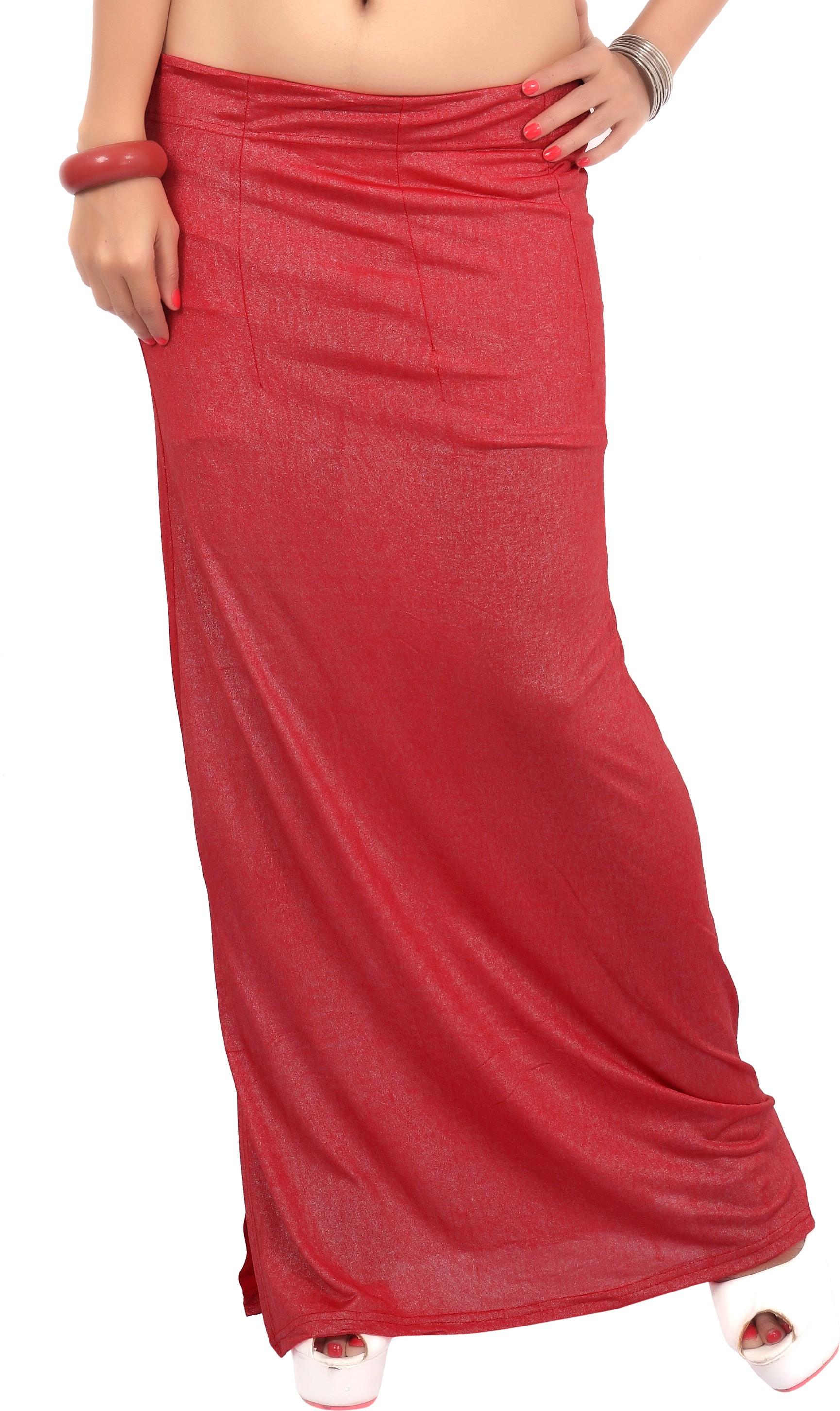 Carrel CARREL-PETTICOAT-104-LIGHT RED Lycra Fugi Foil Petticoat(Medium)