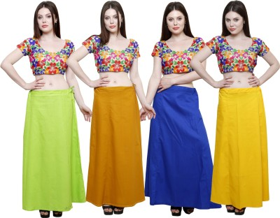 Pistaa Parrot Green, Mustard, Ink Blue and Yellow Cotton Petticoat