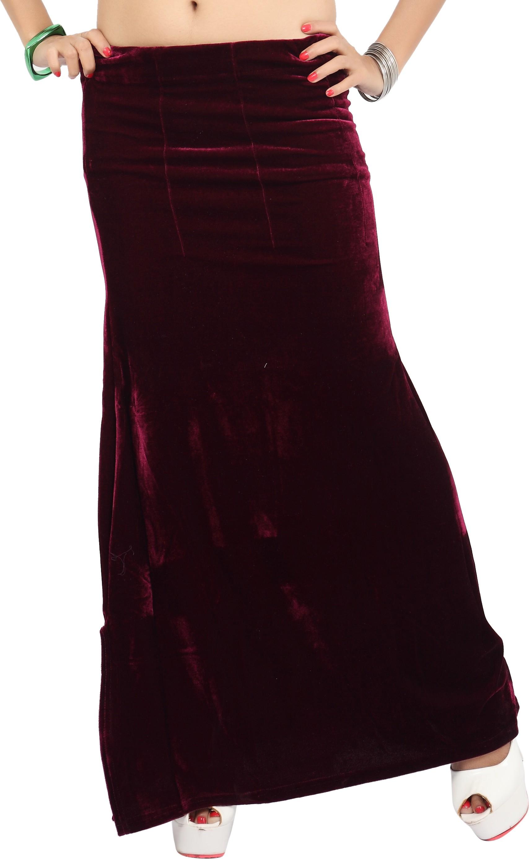 Carrel CARREL-PETTICOAT-105-MAROON Velvet Petticoat(Medium)