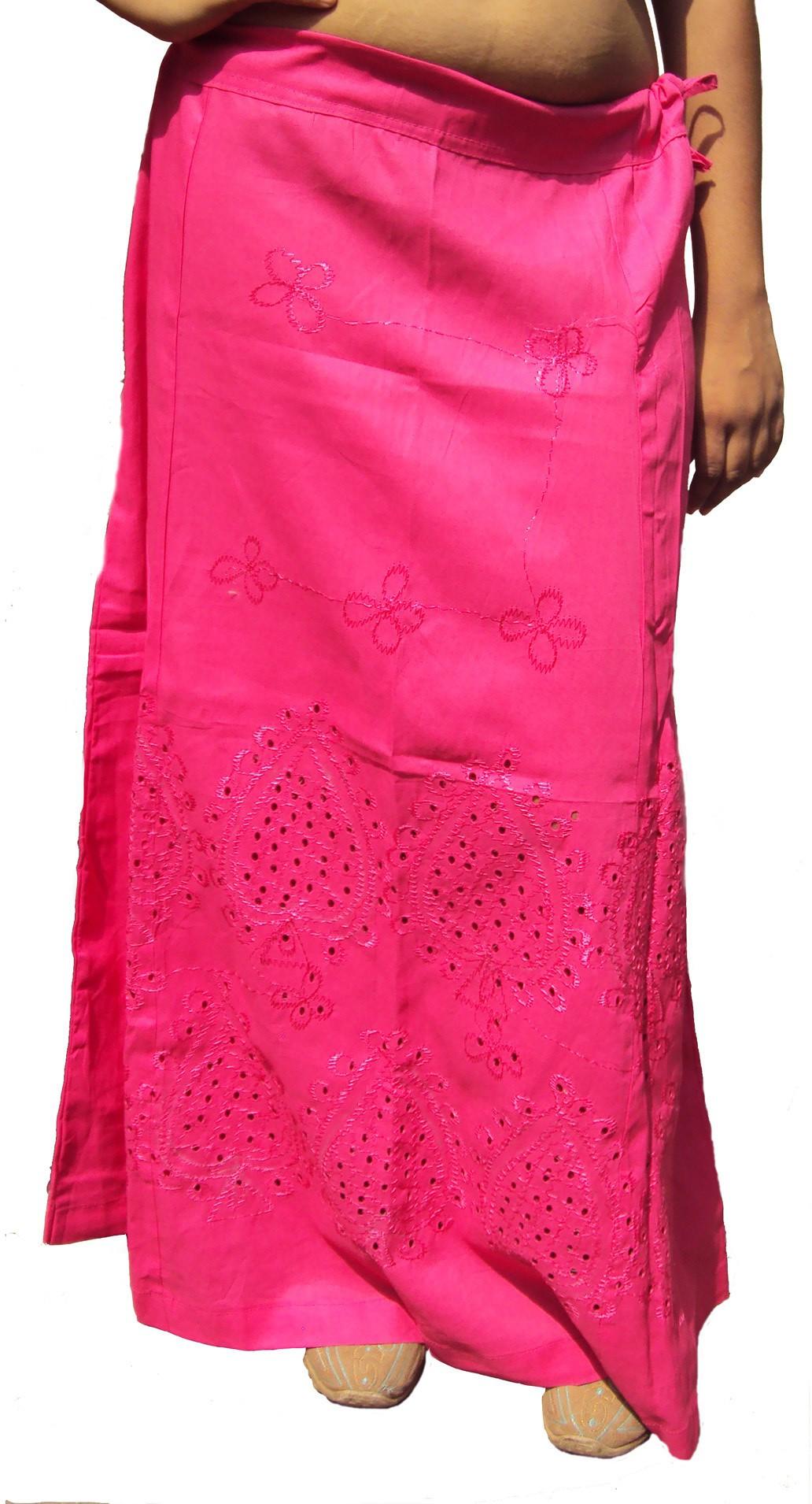 New Life Enterprise Hath0713-Deep pink Cotton Petticoat(XXL)