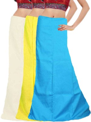 Javuli in-white-yellow-skyblue Cotton Petticoat