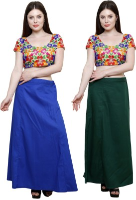 Pistaa Ink Blue and Dark Green Cotton Petticoat